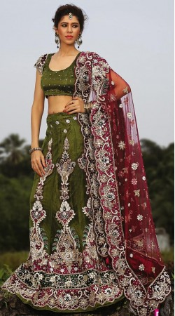 Lime Green Net Lehenga Choli LD004803