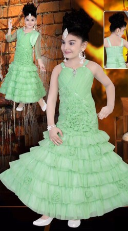 Lime Green Premium Fabric Frill Style Readymade Kids Long Gown DT702237