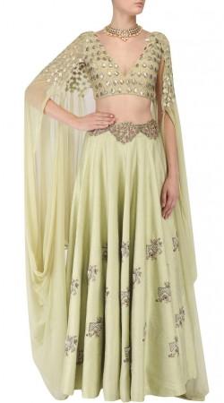 Lime Green Silk Lehenga With Designer Cape Style Choli SUUDL31631