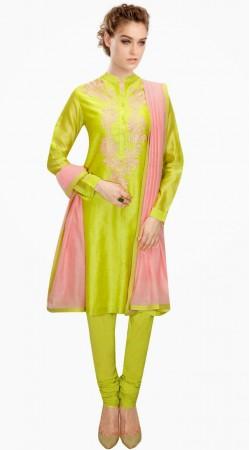 Lime Green Silk Party Wear Salwar Kameez With Pink Dupatta SUMA4109
