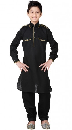 Linen Cotton Black Kid Boy Pathani Suit GR25720