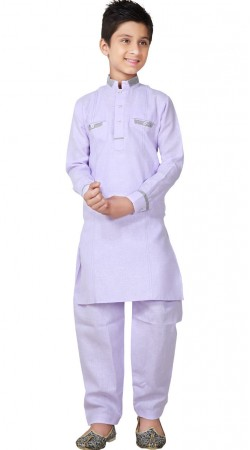 Linen Cotton Light Lavender Kid Boy Pathani Suit GR26220