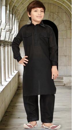 Long Sleeves Black Cotton Silk Boy Pathani Kurta Pajama RL1733904