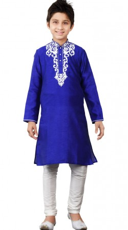 Long Sleeves Blue Art Silk Kid Boy Kurta Pajama GR23013