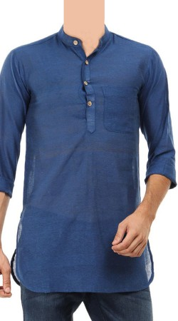 Long Sleeves Blue Cotton Men Short Kurta BP1838