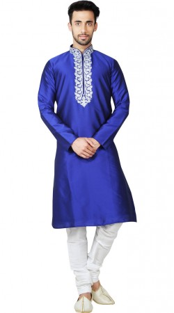 Long Sleeves Blue Taffeta Men Kurta Pajama GR150314
