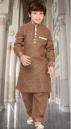 Long Sleeves Brown Boy Pathani Kurta Salwar RL1734204