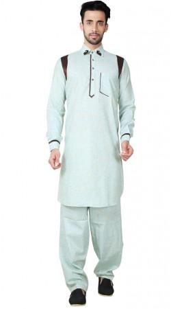 Long Sleeves Cotton Linen Men Pathani Suit GR154219