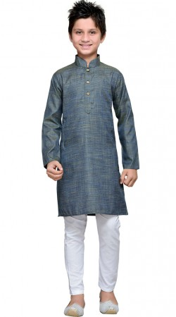 Long Sleeves Greyish Blue Cotton Boy Kurta Pajama GR11108