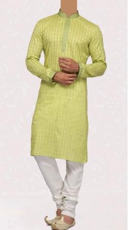 Long Sleeves Lemon Green Cotton Men Kurta Pajama SISCW647