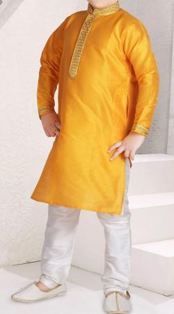 Long Sleeves Mustard Raw Silk Boy Kid Kurta Pajama BP2938