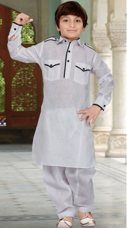 Long Sleeves Off White Kid Boy Pathani Kurta Pajama RL1733604