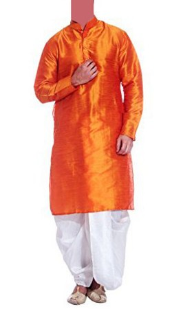 Long Sleeves Orange Raw Silk Men Dhoti Kurta BP0438