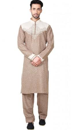 Long Sleeves Rosy Brown Cotton Linen Kurta Pajama GR152519