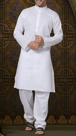 Long Sleeves White Chinese Collar Cotton Kurta Pajama RL1190603