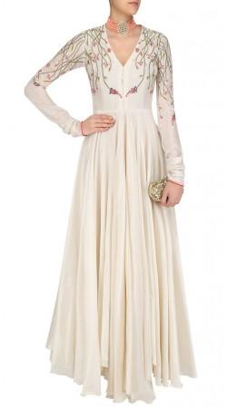 Long Sleeves White Silk Floor Length Anarkali Suit SUMS35524