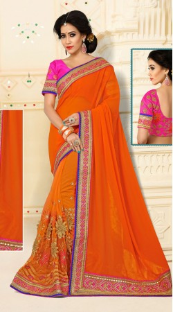 Lovable Digital Net And Catatonic Georgette Orange Saree With Blouse VB11134E29