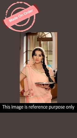 Lovely Bhabi Ji Ghar Par Hai Angoori Peach Replica Saree With Blouse BP0323