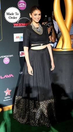 Lovely Black Designer Aditi Rao Hydari Replica Crop Top Lehenega BP1608