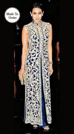 Lovely Blue Karishma Kapoor Replica Bollywood Indo Western Salwar Kameez BP0408