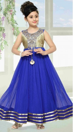 Lovely Blue Net Designer Readymade Kids Gown DT301941