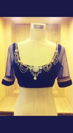 Lovely Blue Premium Fabric Designer Blouse For Saree BP0309
