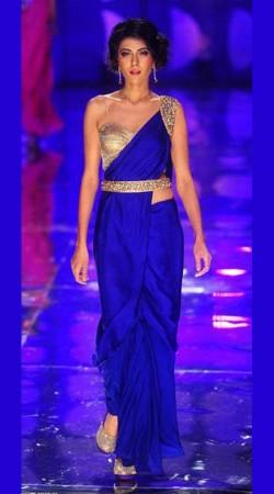 Lovely Blue Premium Fabric Designer Replica Saree Style Gown BP0404
