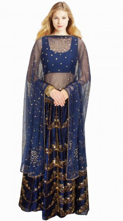 Lovely Blue Silk And Net Embroidered Lehenga Choli SUUDL913