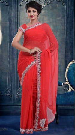 Lovely Bright Red Faux Georgette Stone Work Party Wear Saree ZP3304