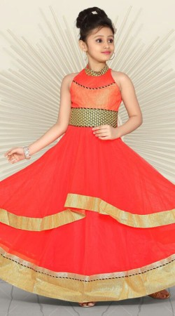 Lovely Bright Red Premium Fabric Readymade Kids Long Gown DT701737