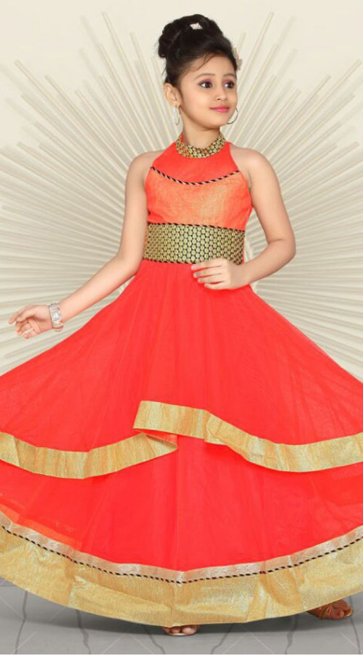 Bright red premium fabric readymade kids gown dt701737 for Childrens dress fabric