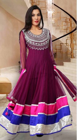 Lovely Burgundy Net Ankle Length Anarkali Suit SUP10C03