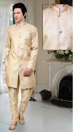 Lovely Cream Banarsi Brocade And Art Dupion Silk Polo Indowestern Sherwani DT12238