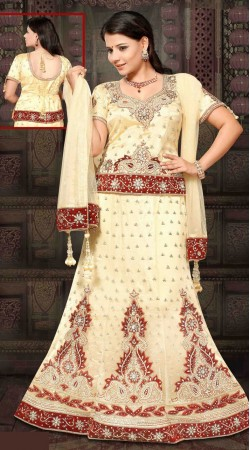 Lovely Cream Net Embroidered Lehenga Choli With Dupatta DT91839