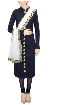 Lovely Dark Blue Silk And Net Exclusive Straight Kameez THS229A02