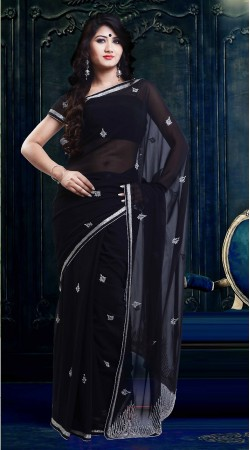 Lovely Embroidered Black Faux Georgette Exclusive Saree ZP1104