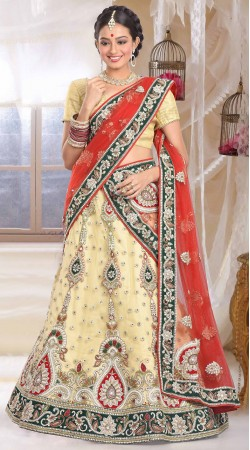 Lovely Embroidered Cream Net Bridal Lehenga Choli With Red Dupatta ZP0905