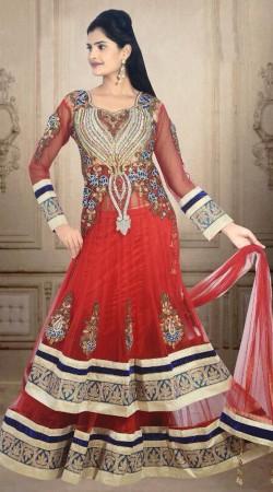 Lovely Embroidered Hot Red Net Wedding Long Choli Lehenga DT900634