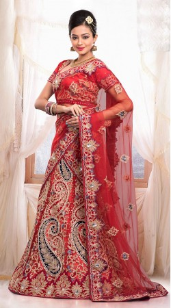 Lovely Embroidered Red Net Bridal Lehenga Choli With Dupatta ZP1405