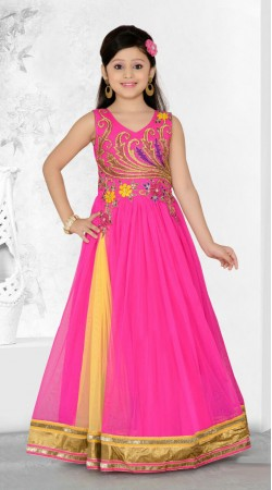 Lovely Embroidered Ruby Georgette Readymade Kids Long Gown DT702037