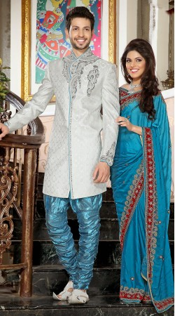 Lovely Embroidered White And Light Blue Brocade Indowestern Sherwani 3FD3871732