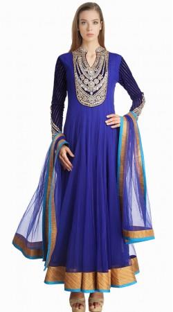 Lovely Embroidered Yoke Blue Net Party Wear Salwar Kameez SU24411