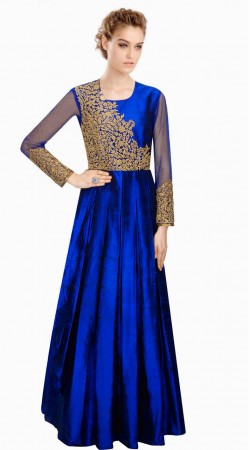 Lovely Floral Gold Embroidered Blue Silk Designer Salwar Kameez SUMA5009