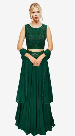 Lovely Floral Work Dark Green Net And Georgette Designer Lehenga Choli SUUDL213