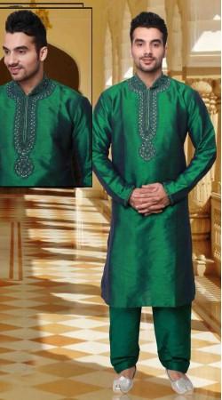 Lovely Green Neck Embroidered Dupion Silk Kurta Pyjama DTKP2033