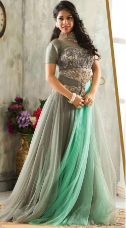 Lovely Grey Net Yoke Embroidered Readymade Indowestern Gown