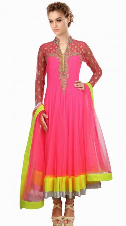 Lovely Magenta Net Readymade Party Wear Salwar Kameez SU16710
