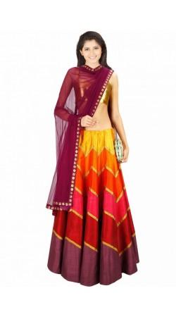 Lovely Multicolor Silk And Brocade Wedding Lehenga Choli SUUDL5814
