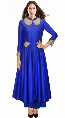 Lovely Neck Embroidered Blue Silk Designer Salwar Kameez SUMA1209