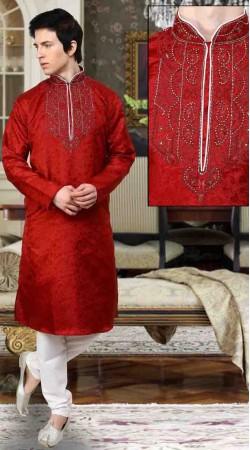 Lovely Neck Embroidered Red Jacquard Kurta Payjama DTKP10238